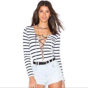 Lovers + Friends | Deep Sea Bodysuit Navy Stripes